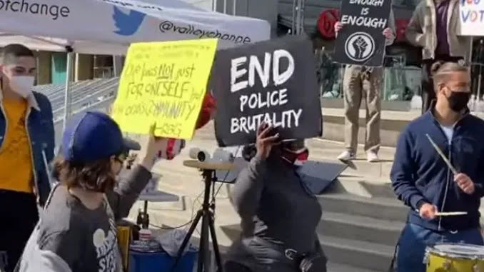 Biden Supporter at Rally Screams at Cops: 'Blue Lives Do NOT Matter'