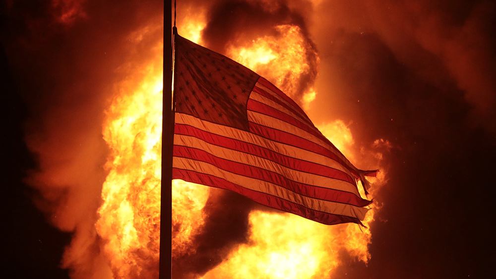 America up in flames like Democrat-run cities across America is the le